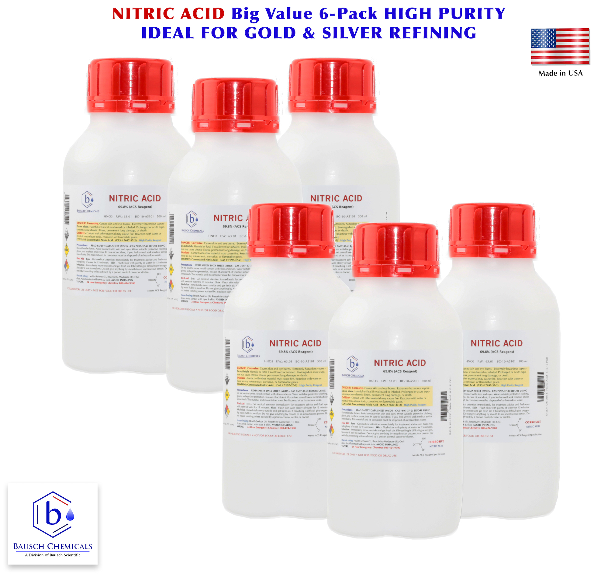 6-PACK - Nitric Acid 70% v/v ACS Reagent Grade Easy Pour Bottle | Fast  Shipping